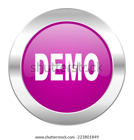 demo violet circle chrome web icon isolated  - stock photo