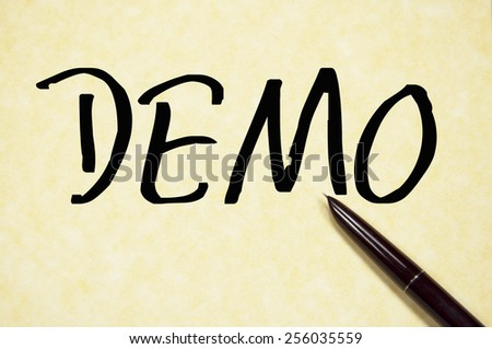 demo word write on paper  - stock photo
