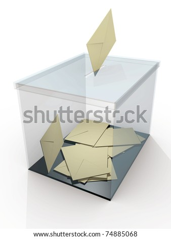 Democracy. Ballot box in a referendum. Politics and elections - stock photo