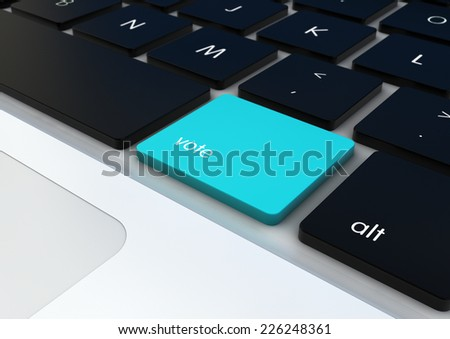 democracy concept: vote button on a keyboard render - stock photo