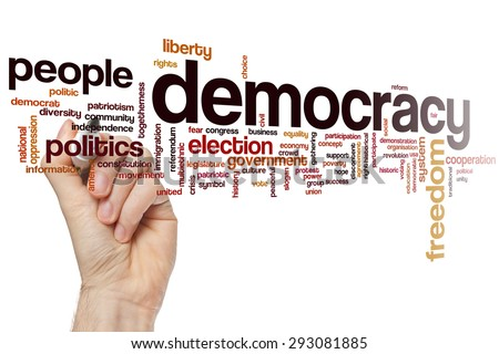 Democracy concept word cloud background - stock photo