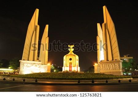 Democracy Monument at night, Bangkok, Thailand - stock photo