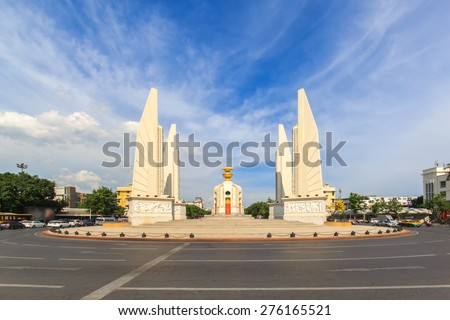Democracy monument with blue sky in Bangkok, Thailand - stock photo