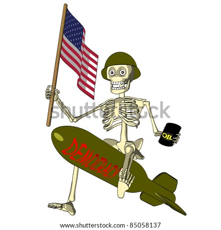 Democracy or oil - politics cartoon of american soldier - stock photo