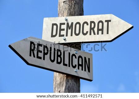 Democrat and republican signpost - stock photo