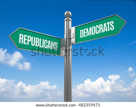 Democrat and republican signpost - 3d rendering