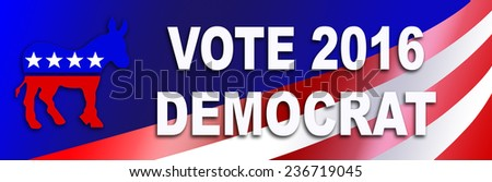 Democrat bumper sticker for the 2016 Presidential election in the USA. - stock photo