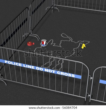 Democrat - Crime Scene. Democrat donkey crime scene with chalk outline. Political Humor - stock photo
