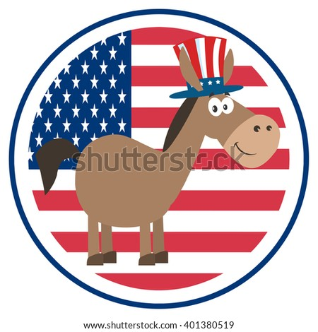 Democrat Donkey Cartoon Character With Uncle Sam Hat Over USA Flag Label. Raster Illustration Flat Design Style Isolated On White