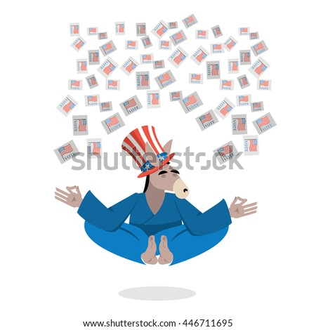 Democrat Donkey hat Uncle Sam meditating votes in elections. Cheerful polytypical illustration. Symbol of political parties in America. Animals yoga - stock photo