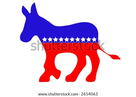 Democrat  Donkey illustration,red, white and blue with stars. - stock photo