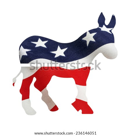 Democrat donkey with American flag superimposed on it. Isolated on a white background with a clipping path. - stock photo