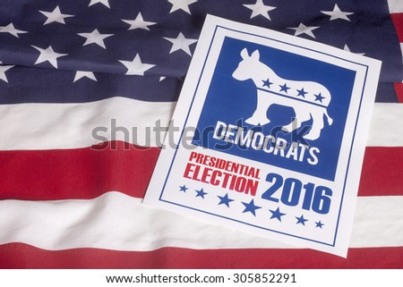 Democrat election on textured American flag - stock photo
