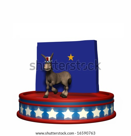 Democrat Platform - Colorado DNC Political Donkey standing on a red, white, and blue platform in front of a 3D Colorado with Denver highlighted by a gold star. Isolated on a white background. - stock photo