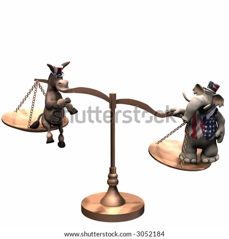 Democrat represented by a donkey and a Republican represented by an elephant on brass scales with the weight in favor of the Republican. Isolated on a white background - stock photo