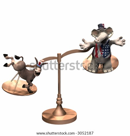 Democrat represented by a donkey and a Republican represented by an elephant on brass scales with the weight in favor of the Democrat. Isolated on a white background - stock photo