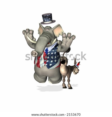 Democrat represented by a donkey kicking the Republican represented by an elephant. Political humor. - stock photo