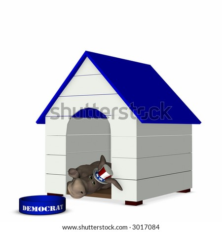 Democrat represented by a donkey looking out of a doghouse with a blue roof. Political humor. - stock photo