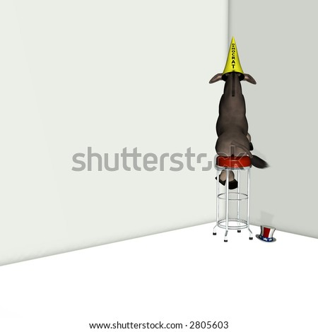 Democrat, represented by a donkey sitting on a stool facing a corner wearing a dunce cap. Political humor. - stock photo