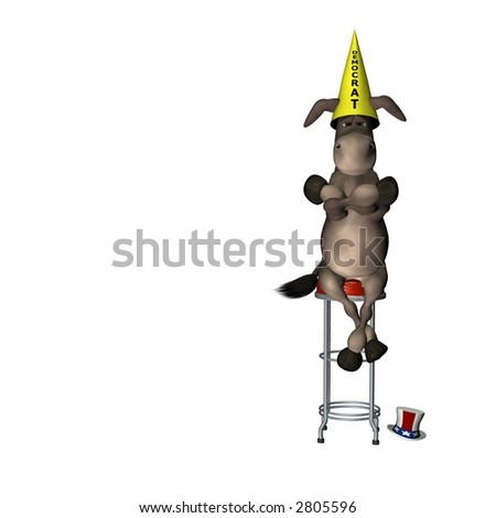 Democrat, represented by a donkey, sitting on a stool wearing a dunce cap. Political humor. - stock photo
