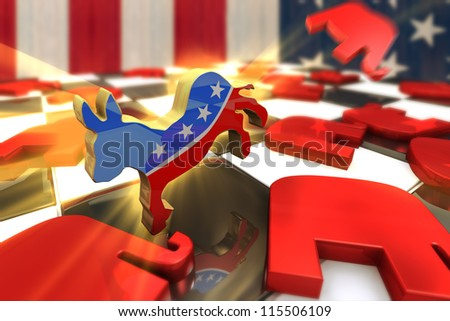 Democrat Symbol Kicks Republican Symbol on a Chess Board - stock photo