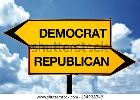 Democrat versus republican opposite signs. Political opinion conceptual image. - stock photo