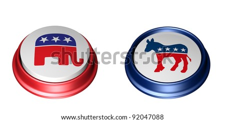 Democrat Vote. Two Political Party Buttons. One in the up position and the other in the depressed position. Vote. Isolated on a white background. - stock photo