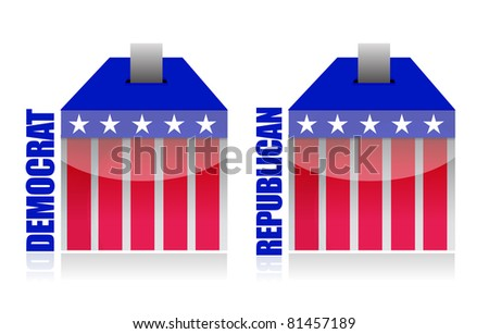 democrat vs republican ballot box illustration - stock photo