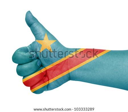 Democratic Congo flag on thumb up gesture like icon on white background - stock photo