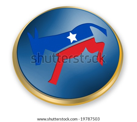 Democratic party button for the 2008 presidential elections - stock photo
