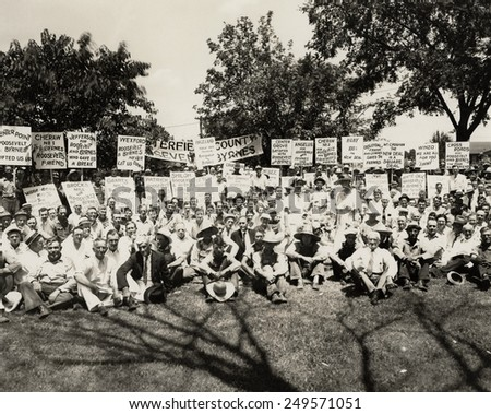 Democratic Party campaign rally, Chesterfield County, South Carolina. 1936. Signs support Franklin Roosevelt and Senator James F. Burns. - stock photo