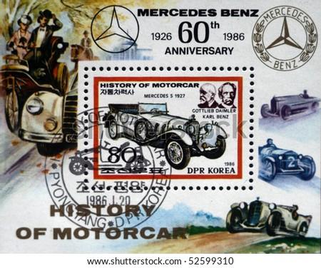 DEMOCRATIC PEOPLE'S REPUBLIC (DPR) of KOREA - CIRCA 1986:A stamp printed in DPR Korea (North Korea) honoring 60 years of Mercedes Benz, circa 1986 - stock photo