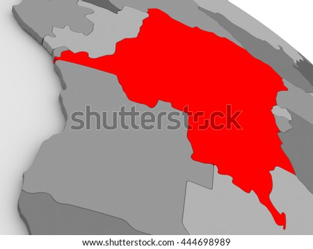 Democratic Republic of Congo highlighted in red on model of globe. 3D illustration