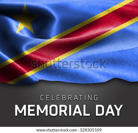 Democratic Republic of the Congo flag and Celebrating Memorial Day Typography - stock photo