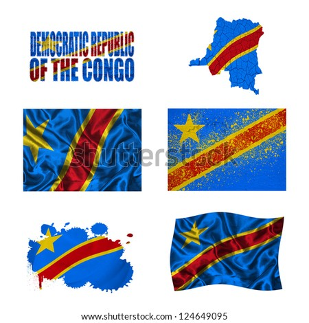 Democratic Republic of the Congo flag and map in different styles in different textures