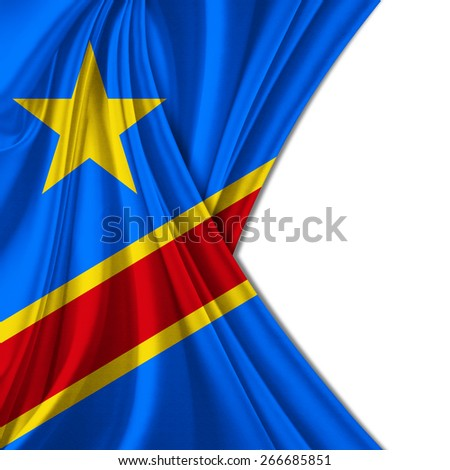 Democratic Republic of the Congo Flag and white background - stock photo