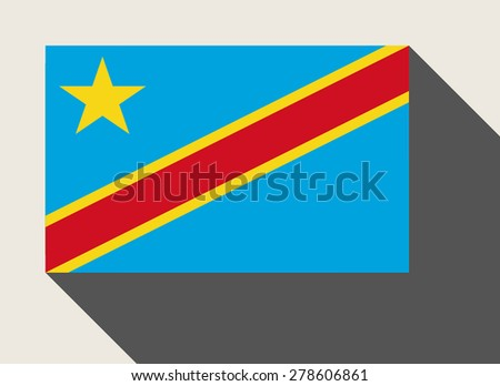 Democratic Republic of the Congo flag in flat web design style. - stock photo
