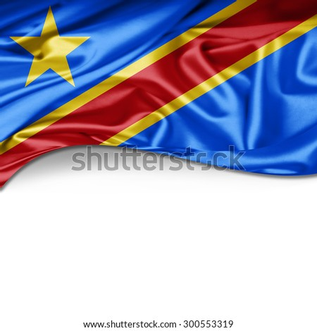 Democratic Republic of the Congo flag of silk with copyspace for your text or images and white background - stock photo