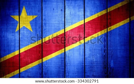 Democratic Republic of the Congo Flag on old wood texture background - stock photo