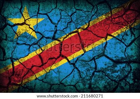 Democratic Republic of the Congo flag pattern on the crack soil texture ,retro vintage style - stock photo