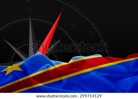 Democratic Republic of the Congo High Resolution flag and Navigation compass in background - stock photo