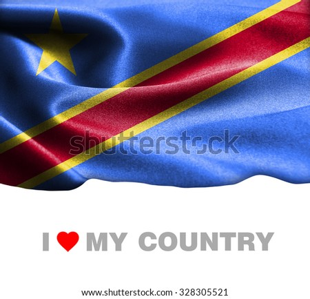 Democratic Republic of the Congo waving flag with Text I Love My Country - stock photo