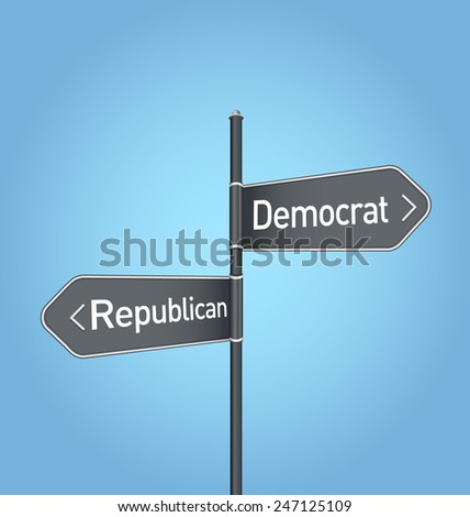 Democratic vs republican choice concept road sign on blue background - stock photo