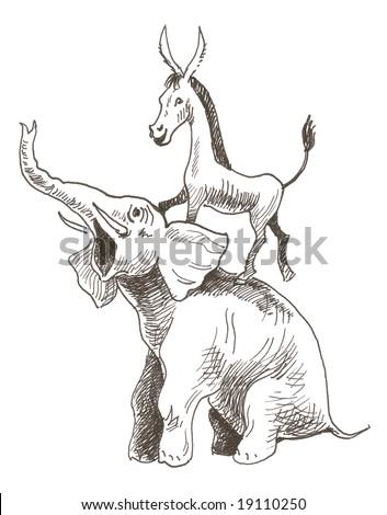 Democrats and republicans - stock photo