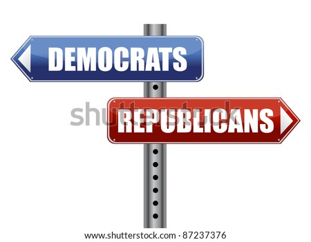 Democrats and Republicans election choices illustration - stock photo
