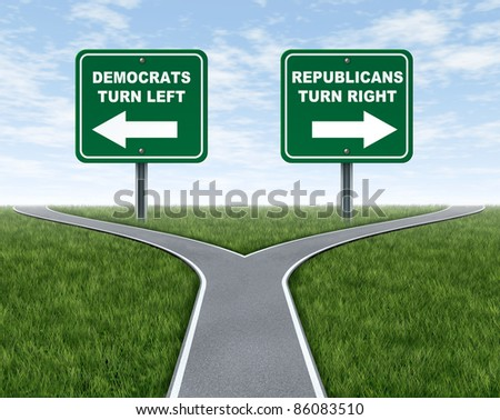 Democrats and Republicans election choices represented by a road that splits into two camps with the Democrat leaning to the left and the Republican party going right. - stock photo