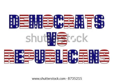 Democrats vs Republicans words with superimposed star and stripe pattern