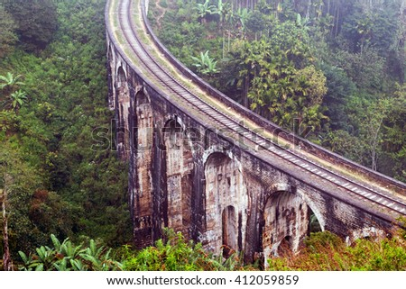 Demodara Nine Arch Bridge, Gotuwala, Ella, Sri Lanka - stock photo