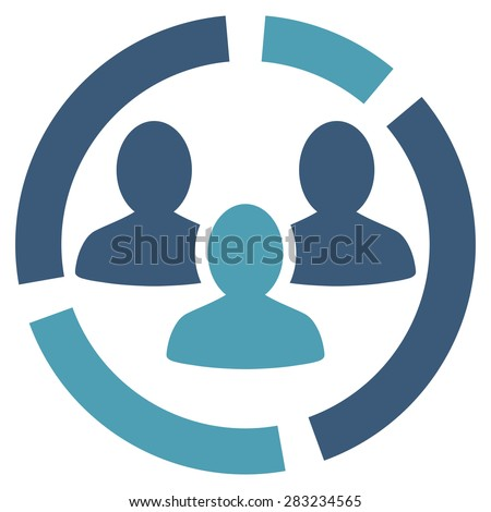 Demography diagram icon from Business Bicolor Set. Glyph style: bicolor flat symbol, cyan and blue colors, rounded angles, white background. - stock photo