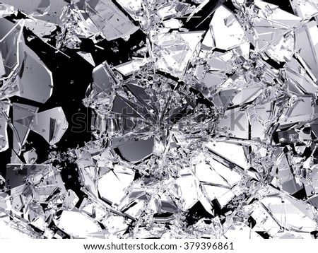 Demolished and Shattered glass over black.  - stock photo